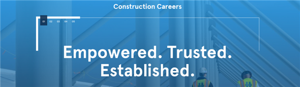 An international construction company's banner