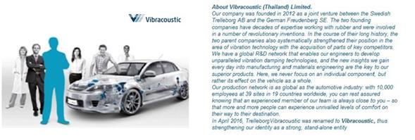 Vibracoustic (Thailand) Limited/บริษัท ไวบระคูสติก (ประเทศไทย) จำกัด's banner